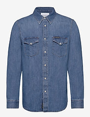 Calvin Klein Jeans - MODERN WESTERN SHIRT - podstawowe koszulki - da042 mid blue - 0