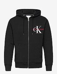 Calvin Klein Jeans - ZIP THRU MONOGRAM HOODIE - bluzy z kapturem - ck black - 0