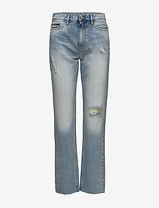 HR straight ankle ra - straight jeans - tron blue destructed