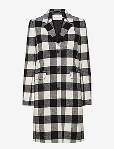 CHECK WOOL CROMBIE - tunna kappor - black/white