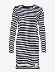 STRIPED RIB DRESS, 9 - CK BLACK / WHITE
