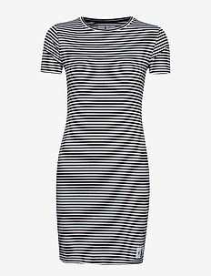 RIB SHORT SLEEVE DRESS - CK BLACK/BRIGHT WHITE