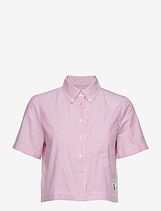 CROPPED SS OXFORD SHIRT - BRIGHT WHITE/ PINK STRIPES