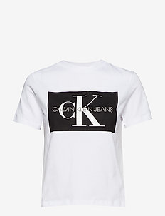 ICONIC MONOGRAM BOX STRAIGHT TEE - BRIGHT WHITE/ CK BLACK