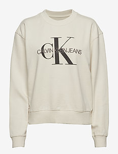 MONOGRAM WASHED CREW NECK - EGRET