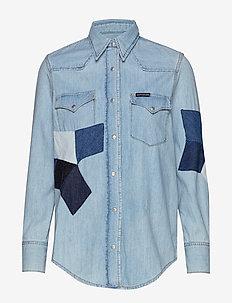 FOUNDATION WESTERN S - jeansskjortor - aa009 blue quilt