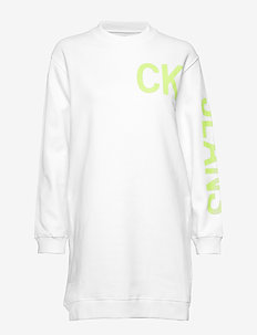 CK JEANS LOGO KNIT D - BRIGHT WHITE / SAFETY YELLOW