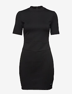 FITTED MILANO DRESS, - CK BLACK