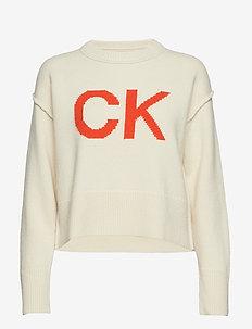 CK INTARSIA SWEATER, - EGRET/ORANGEADE