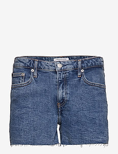 MID RISE WEEKEND SHO - jeansowe szorty - iconic mid stone raw embroider