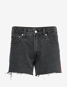MID RISE WEEKEND SHORT - jeansshorts - windy black raw embroidery red