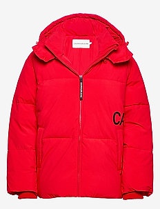 OVERSIZED LOGO PUFFER - RACING RED