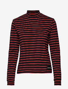 MOCK NECK LS TEE - CK BLACK/ RED STRIPES