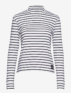 MOCK NECK LS TEE - WHITE/CK BLACK STRIPES