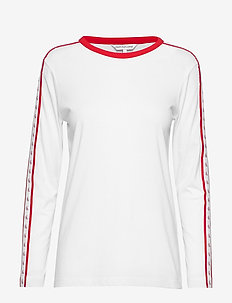 MONOGRAM TAPE STRAIGHT LS TEE - BRIGHT WHITE / RED