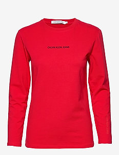 INST LOGO STRETCH LS SLIM TEE - RACING RED