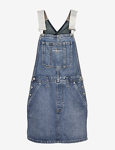 ICONICS DUNGAREE DRESS - CA045 MID BLUE
