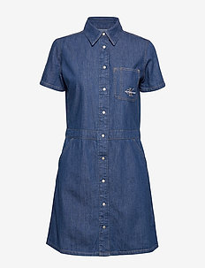 SHORT SLEEVE DESERT DINER DRESS - CA044 MID BLUE