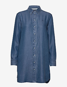 INDIGO TENCEL SHIRT DRESS - skjortklänningar - light indigo