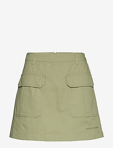 COTTON TWILL UTILITY MINI SKIRT - earth sage
