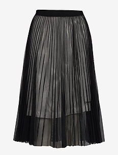PLEATED MESH DOUBLE LAYER SKIRT - ck black