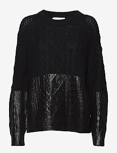 COATED CABLE SWEATER - CK BLACK