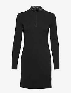 NECK LOGO FITTED SWEATER DRESS - CK BLACK