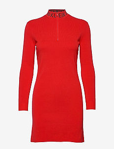 NECK LOGO FITTED SWEATER DRESS - RACING RED
