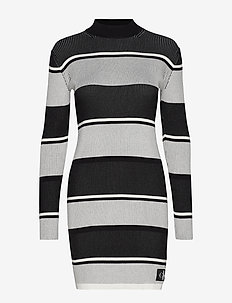 LONG SLEEVE RIB SWEATER DRESS - BLACK / WHITE / GREY STRIPE