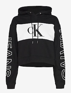 BLOCKING STATEMENT LOGO HOODIE - CK BLACK/WHITE/CK BLACK