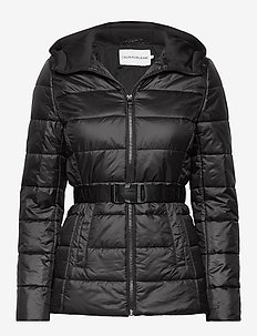BELTED JACKET WITH SCUBA HOOD - ck black