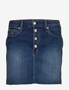 MID RISE MINI SKIRT - denim skirts - da099 mid blue shank rwh