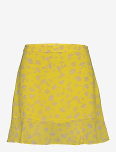 FLORAL PRINT FLARE SKIRT - korte rokken - yellow grungy halftone grey fl