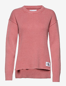 RELAXED WASHED RIB SWEATER - tröjor - brandied apricot