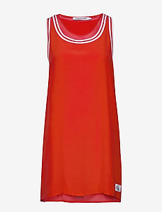 TANK DRESS WITH MESH - FIERY RED