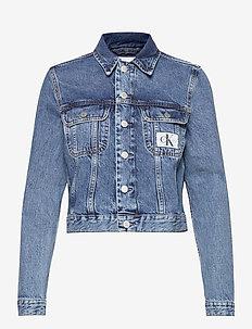 90S CROP TRUCKER - jeansjakker - ab076 icn mid blue