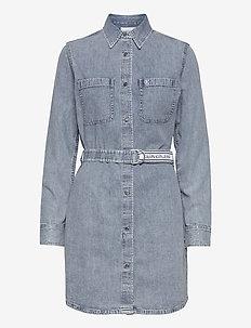 RELAXED SHIRT DRESS BELT - blousejurken - ab078 icn light blue belt
