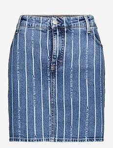 PLUS HIGH RISE MINI SKIRT - jeanskjolar - da149 light blue stripe