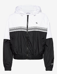 STRIPE TAPE HOODED WINDBREAKER - kevyet takit - ck black