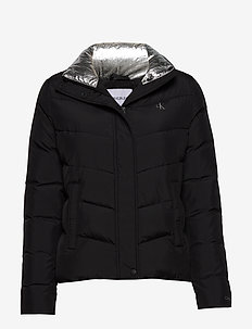 SLANTERED QUILTED FITTED JACKET - padded jackets - ck black