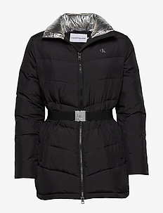 LW BELTED PUFFER JACKET - padded jackets - ck black