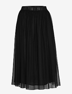 DOUBLE LAYER MESH SKIRT - midinederdele - ck black