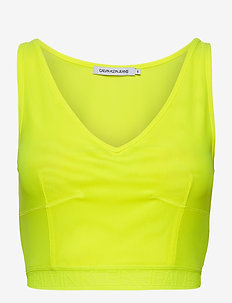 MESH LOGO TAPE CROPPED TOP - navel shirts - safety yellow