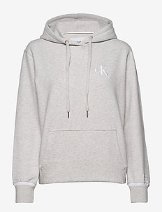 CK EMBROIDERY TIPPING HOODIE - hoodies - white grey heather