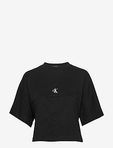 PUFF PRINT BACK LOGO T-SHIRT - crop tops - ck black