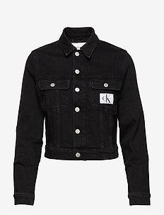 90S CROP TRUCKER - denim jackets - ab099 washed black