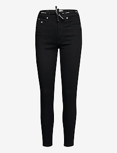 HIGH RISE SUPER SKINNY ANKLE - skinny jeans - bb217 - rinse black lace wb