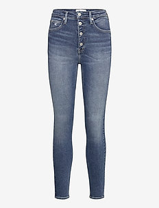 HIGH RISE SUPER SKINNY ANKLE - dżinsy skinny fit - bb102 - mid blue shank