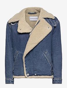 SHERPA MOTO DENIM JACKET - kurtki dżinsowe - bb194 - mid blue
