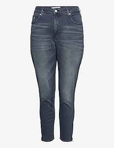 HIGH RISE SKINNY ANKLE - skinny jeans - bb234 - blue black logo zip he